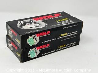 (2) Wolf 7.62x54R Rifle Cartridges
