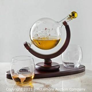 Whiskey Decanter Globe Set with 2 Etched Globe Whisky Glasses - for Liquor