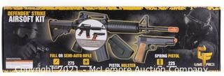 Defender Strike Airsoft Kit With Electric Full/Semi-Auto Airsoft Rifle And Spring-Powered Single Shot 1911 Airsoft Pistol