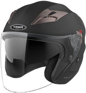 Motorcycle Open Face Helmet DOT Approved - YEMA YM-627 Motorbike Moped Jet Bobber Pilot Crash Chopper 3/4 Half Helmet with Sun Visor for Adult Men Women - Matte BlackLarge