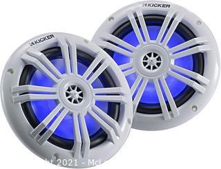 Kicker 45KM604WL 6.5 Inch 2 Way Coaxial Marine Light Up LED Boat Speakers Pair 4 Ohm 150 Max Watts Blue