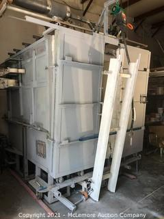 Large Gas Kiln with Over Head Pneumatic Hoist and Bottom Tracks