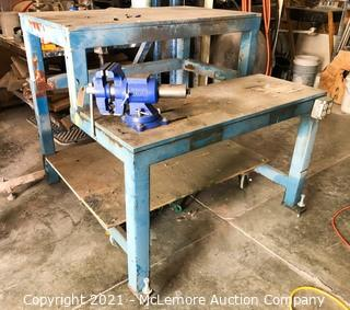 2 Tier Metal Work Table on Casters with Irwin Vise