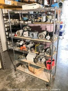 Wire Rack Shelving on Casters with Contents