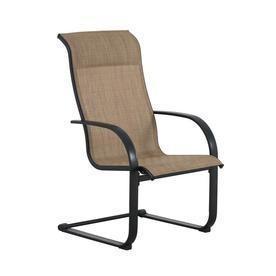 (SET OF 6) Garden Treasures Pelham Bay Black Metal Frame Spring Motion Dining Chair(s) with Tan Sling Seat - MSRP $350