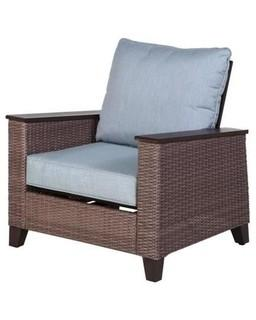 (SET OF 2) allen + roth Wylie Cove Wicker Brozen Metal Frame Spring Motion Conversation Chair(s) with Cast Mist Slat Seat