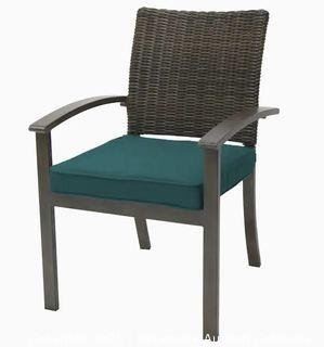 (SET OF 4) allen + roth Everett Manor Wicker Stackable Dark Brown Metal Frame Stationary Dining Chair(s) with Peacock Blue Cushioned Seat