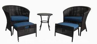 Garden Treasures Sandyfield 5-Piece Brown Wicker Patio Conversation Set with Blue Cushions