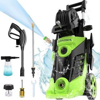 Homdox 3350 PSI Electric Pressure Washer 2.5 GPM Power Washer 1800W High Pressure Cleaner with 4 Nozzles Hose Reel Detergent Tank Ideal for Home Car Garden (Green)