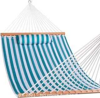 Lazy Daze Quilted Fabric Double Hammock with Spreader Bars and Detachable Pillow 2 Person Hammock for Outdoor Patio Backyard Poolside 450 LBS Weight Capacity Sailor Stripe