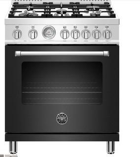 """Bertazzonni Master Series 30"""" Matte Black Slide-In Dual Fuel Sealed Burner Range - Convection MSRP:$3799 NEW IN BOX - SEE PICTURES TINY MARK NEAR LOGO"""