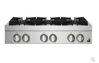 JennAir RISE 36 Inch Wide 6 Burner Pro Gas Rangetop with Dual-Stacked PowerBurners MSRP:$3500 APPEARS NEW IN BOX  TINY DENT IN SIDE PANEL