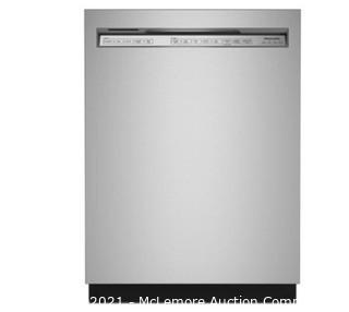 KitchenAid 39-Decibel Front Control 24-in Built-In Dishwasher (Stainless Steel with Printshield) ENERGY STAR.  MSRP @1100.  APPEARS NEW NO BOX (wrinkles on door are protective film)