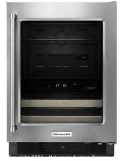 """KITCHENAID 24"""" Beverage Center with Glass Door and Wood-Front Racks MSRP:$2149 NEW NO BOX - UNIT HAS MINOR DENT ON SIDE OF DOOR - SEE PICS"""