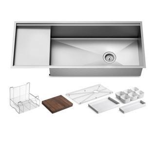 """Kohler Stages 45"""" Single Basin Under-Mount 16-Gauge Stainless Steel Kitchen Sink with SilentShield<br>Model:K-3761-NA  MSRP $ 1741  NEW IN BOX"""