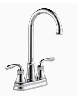 Delta Lorain Chrome 2-Handle Deck-Mount Bar and Prep Handle Kitchen Faucet