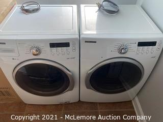 SAMSUNG WF331ANW 4.3 cu. ft. Front Load Steam Washer  AND SAMSUNG 27 Inch Electric Dryer with Steam 7.3 cu. ft. Capacity 9 Drying Cycles 3 Options DV331AEW  MACHINES ARE USED IN GOOD CONDITION