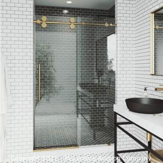VIGO Elan 56 to 60 in. W x 74 in. H Sliding Frameless Shower Door in Matte Gold with Clear Glass. MSRP$ 1300.  NEW IN BOX