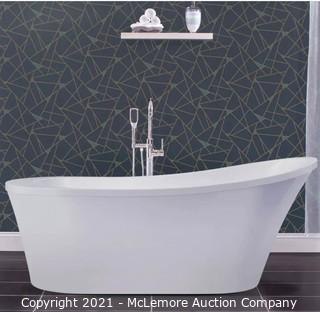 Miseno MNO7035FSO 70in Oval Free Standing Bathtub with Slipper Back - Reversible Drain Location  MSRP:$1459  APPEARS NEW IN BOX