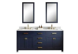Madison 72 in. Vanity in Modern Blue with Carrara Marble  Top  <br>by Water Creation MSRP$1789  NEW IN BOX
