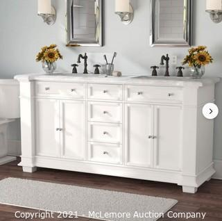 """Merimack 72"""" Double Bathroom Vanity White.  DOES NOT INCLUDE COUNTERTOP  MSRP$ 1489.  APPEARS NEW IN BOX"""