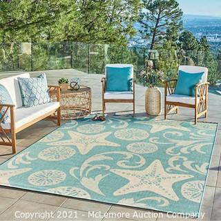Naples Indoor/Outdoor Area Rug Colima Blue - Rug Size : 6 ft. 6 in. x 9 ft. 6 in. - Brand New