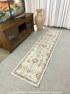 Centenno Lia Ivory with Blue - Woven Runner - Rug Size : 2 ft. 2 in. x 8 ft. - Brand New