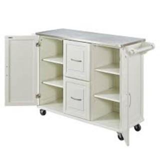 Dolly Madison Off-White Kitchen Cart