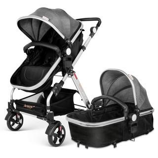 Infant Baby Stroller for Newborn and Toddler - Besrey Convertible Bassinet Stroller Luxury Pram Compact Single Baby Carriage