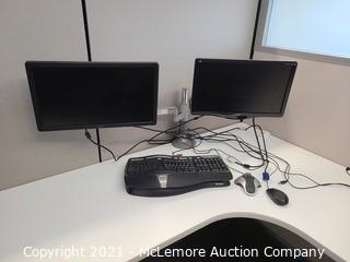 (2) Computer Monitors with Humanscale Monitor Arm Mount