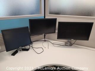 (3) Computer Monitors with Humanscale Monitor Arm Mount