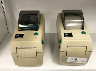 (2) Zebra LP2824 Label Printers (No Power Cords)