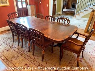 Dining Table with Delicate Inlay and Eight Chairs