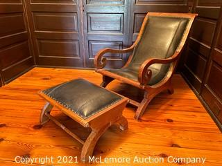 Antique Wood & Leather Chair