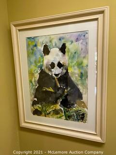 Framed Watercolor of Panda Bear by Celia Hamrick Turner