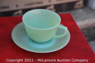 Fire King Jadeite Jane Rey Cups and Saucers