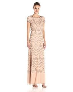 Adrianna Papell Women's Short Sleeve Blouson Beaded Gown  Taupe/Pink  8