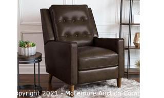 Abbyson Beckett Mid-Century Leather PushBack Recliner - Espresso - Store Display - $799