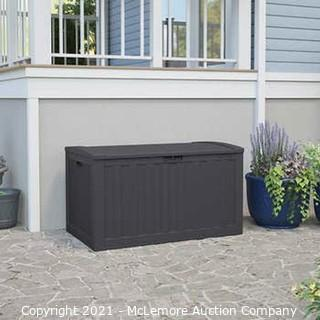 Suncast 134 Gallon EXTRA LARGE Deck Box - All weather Protection  / ideal for storing cushions  garden supplies  firewood - NEW - $199