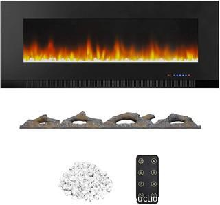 Wall-Mounted Recessed Electric Fireplace - 50-Inch.  Black