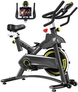 Cyclace Exercise Bike Stationary 330 Lbs Weight Capacity- Indoor Cycling Bike with Comfortable Seat Cushion.  Tablet Holder and LCD Monitor