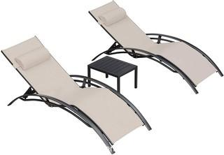 PURPLE LEAF Patio Chaise Lounge Set of 3 Outdoor Lounge Chair Beach Pool Sunbathing Lawn Lounger Recliner Chiar Outside Tanning Chairs with Arm for All Weather.  Side Table Included.  Beige