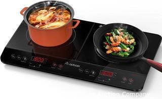 Aobosi Induction Burner.  Portable Double Induction Cooktop 1800W with Sensor Touch Control Black Crystal Glass Surface Multiple Power Settings and Timer Max and Min Function Safety Lock 2 burners