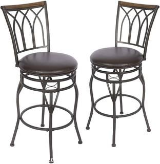 """Bar Stools Set of 2-360 Degree Swivel - 30"""" Seat Height Counter Stools - Adjustable Height for Kitchen.  Living Room.  Pub.  and Bistro"""