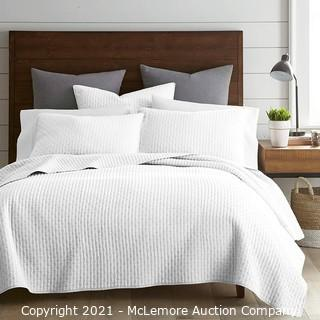 Levtex Home - Cross Stitch Quilt Set - 100% Cotton - Full/Queen Quilt (88x92in.) - Bright White