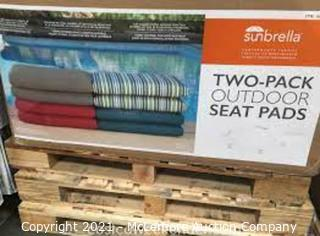 Sunbrella Striped Outdoor Seating Pads.  Blue & Gray.  2-Pack- New