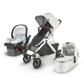 UPPAbaby Vista V2 Stroller - Bryce (White Marl/Silver/Chestnut Leather) + Mesa Infant Car Seat - Bryce (White Marl)