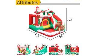 AirMyFun Inflatable Christmas Bounce House with Slide Inflatable Santa Clause Snow House Bouncy House for Kids Outdoor Party with Air Blower