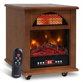 Electric Portable Quartz Infrared Space Cabinet Heater for Indoor Use with Realistic Flame Effect.  Remote Control & 12H Timer.  Overheat & Tip-over Shut Off Thermostat?for Room Office Wood