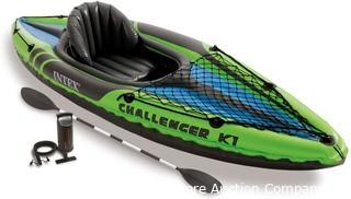 Intex Challenger K1 Kayak with Paddles and Pump Design for Easy Paddling Cockpit Design for Best Comfort and Space Parts Unverified Untested